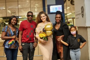 Shallie Abbiusi was welcomed at the Kotoka International Airport in Accra