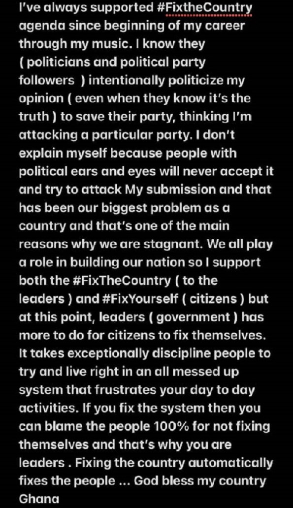 #FixTheCountry: Government Has More To Do For Citizens - Sarkodie Joins