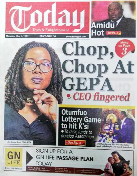Newspaper Headlines of Monday, 6 May 2019 (PHOTOS) 5