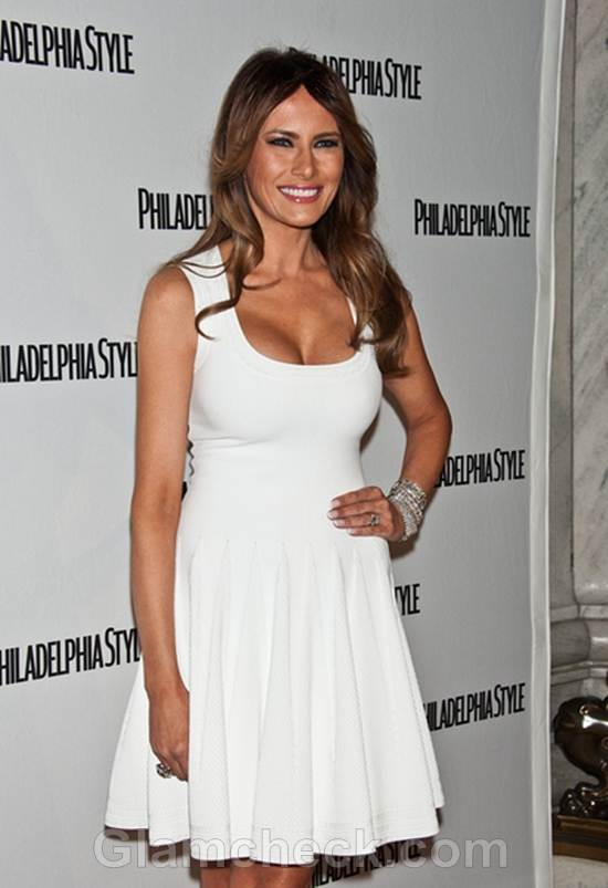 Melania Trump Vision In White At Philadelphia Style Party