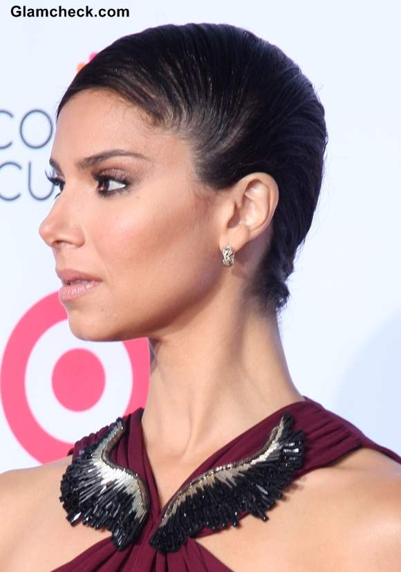 Sleek Side Swept Bun Hairstyle DIY Roselyn Sanchez