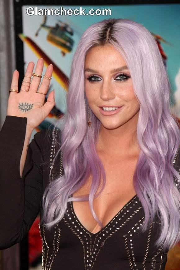 Kesha Flaunting Her Lilac Purple Hair