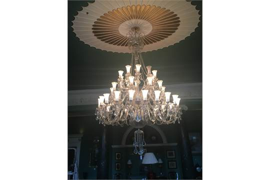 Exceptional Quality Forty Branch Tipperary Crystal Chandelier With Hanging Res