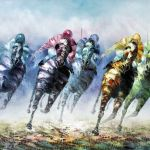 Anthony Veccio Born 1949 Oil Painting Horse Racing Scene Canvas 24ins X 36ins Signed