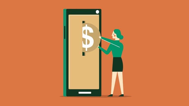 Online banking businesswoman using smartphone.