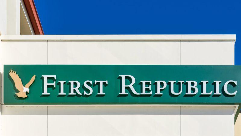 First Republic Bank sign and golden eagle logo near bank branch in Silicon valley - Palo Alto,California, USA - June 6, 2019.