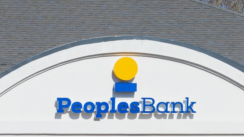 NEWTON, NC, USA-12/26/18:, A branch of People's Bank, a North Carolina bank, with locations in and near Catawba County.
