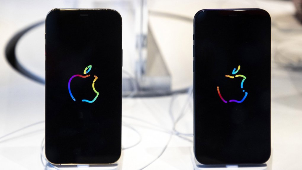 Mandatory Credit: Photo by SYSPEO/SIPA/Shutterstock (10975699ae)Apple iPhone 12, Apple iPhone 12 Pro, at MCS Apple Premium ResellerApple iPhone 12 and iPhone 12 Pro release, Nice, France - 23 Oct 2020.