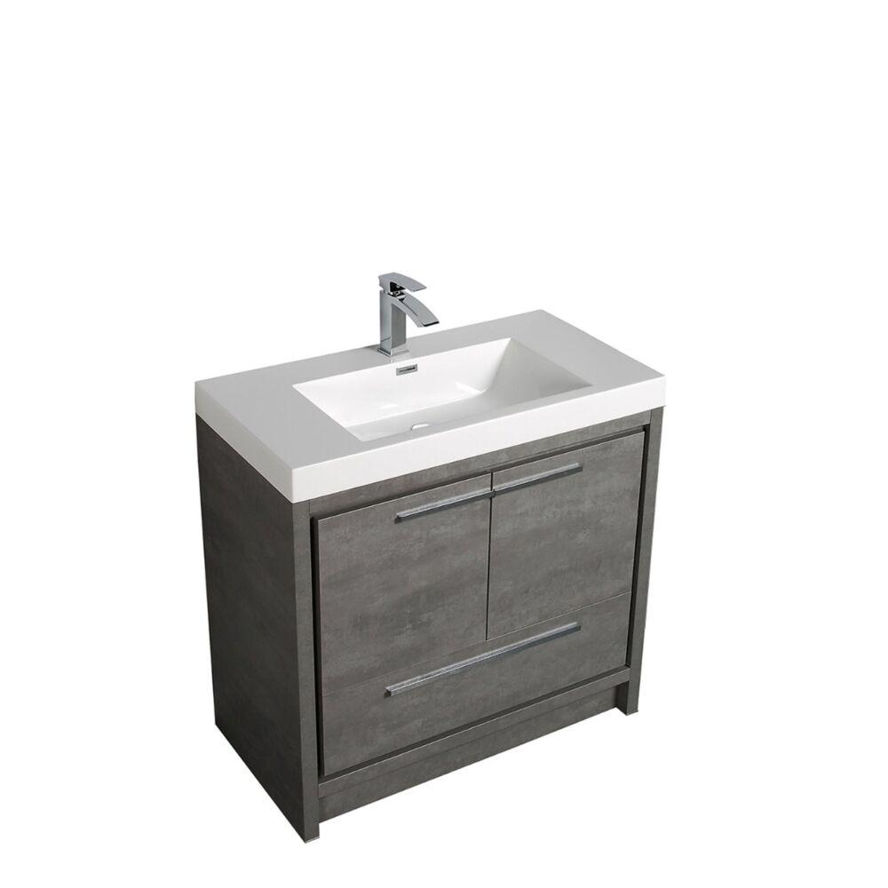 36 allier cement grey single sink bathroom vanity