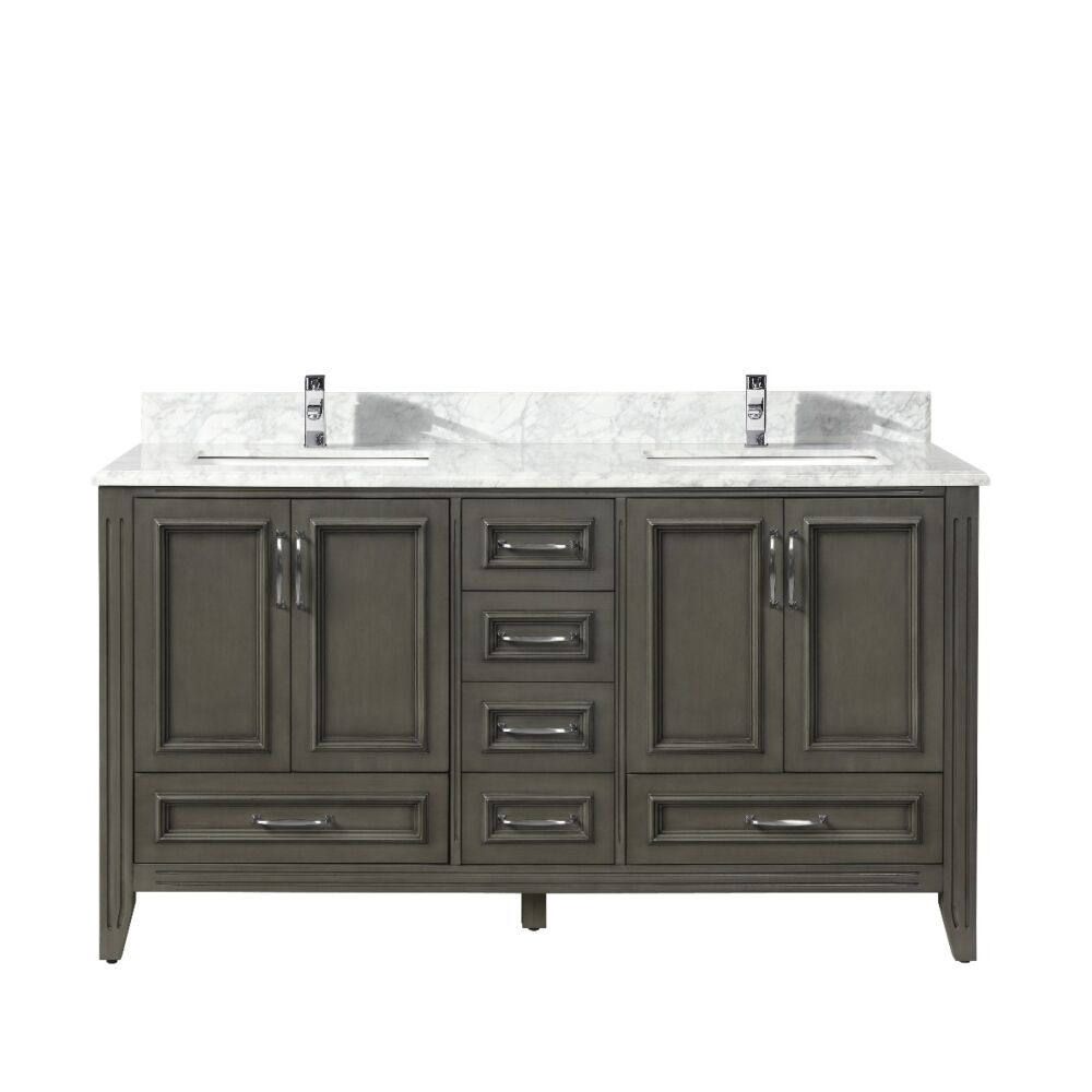 60 amanda grey carrera marble countertop double sink bathroom vanity