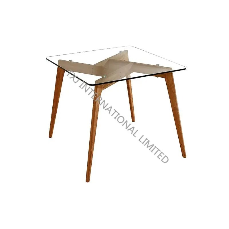 barcelona std glass square table with