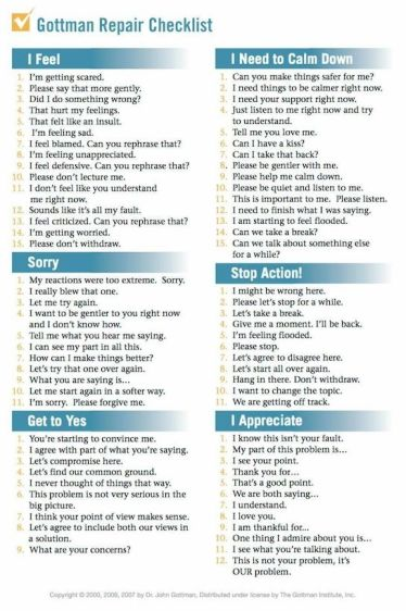 Gottman Repair Checklist