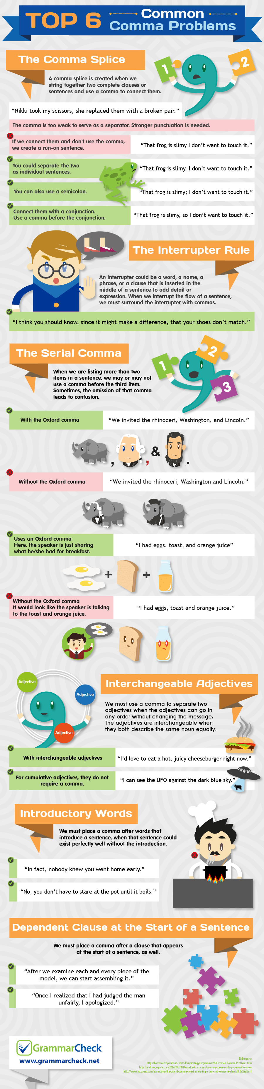 Top 6 Common Comma Problems (Infographic)