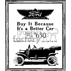 1900 Ford Vintage Car Ad Vintage 1900 Vector Art Gf Clipart Commercial Use Gif Jpg Png Eps Svg Ai Pdf Clipart 402445 Graphics Factory