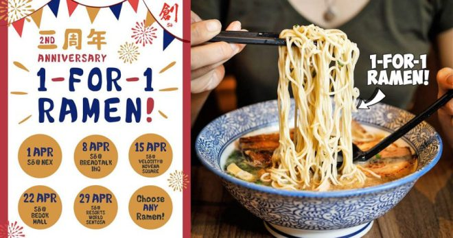 Mark these dates to enjoy 1-for-1 ramen at Sō Ramen (創) outlets in April because 2nd Anniversary Promotion