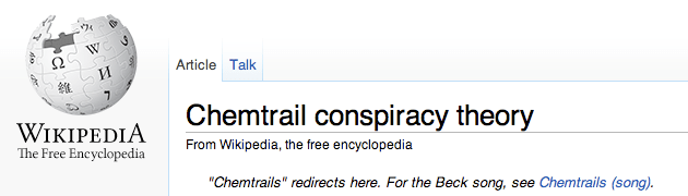 wikipedia chemtrail conspiracy theory