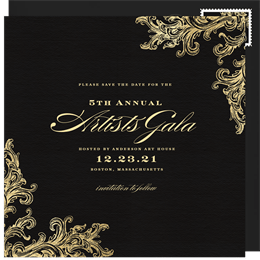 French Filigree Save The Date In Black