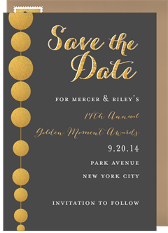 Golden Beads Save The Date In Grey