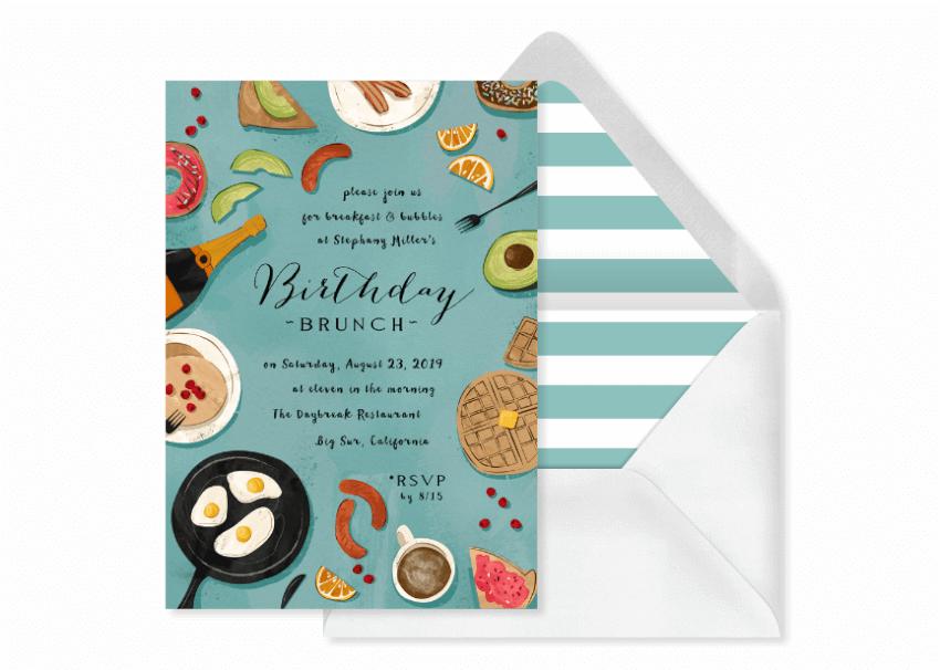 brunch birthday party invitation