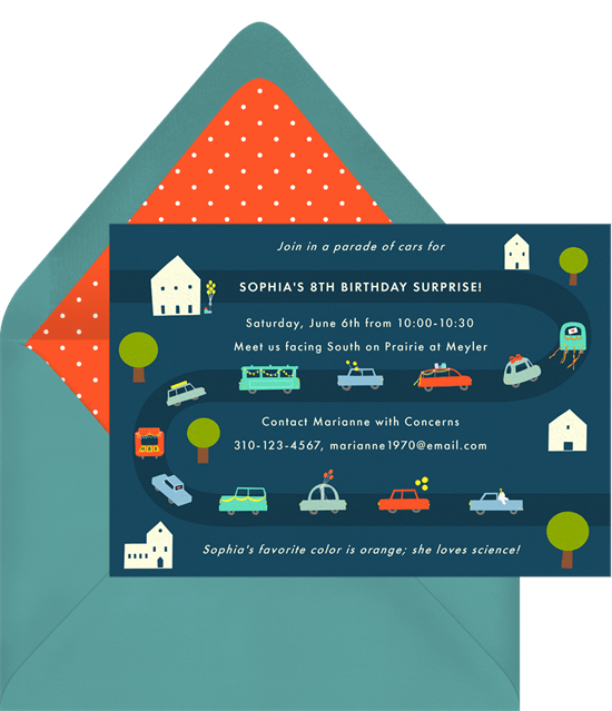 car parade invitations greenvelope com