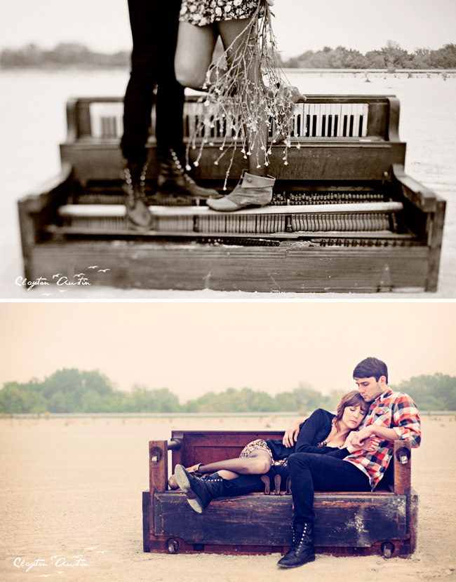 couple at the piano in love vintage engagement