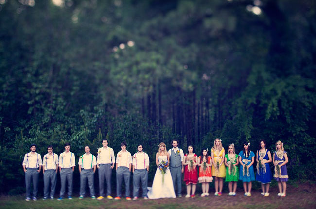 rainbow wedding bridal party