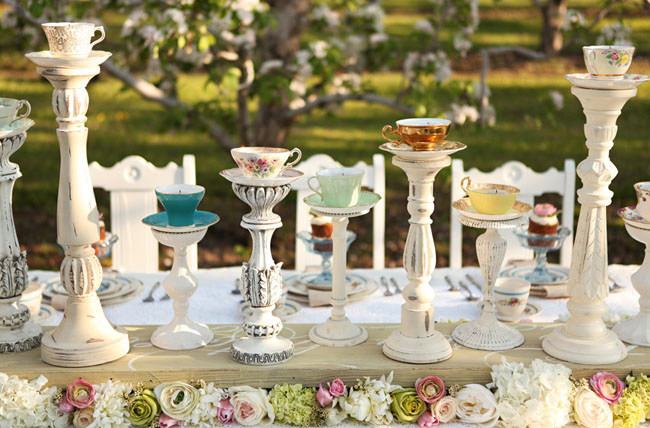 tea cup candle holder centerpiece