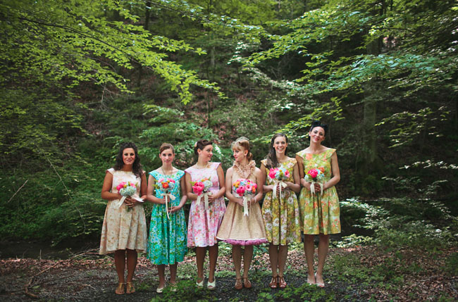 bridesmaids wearing floral dresses