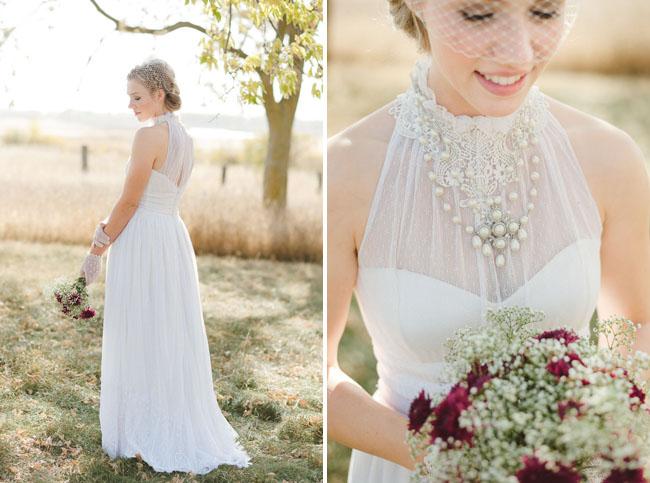 tulle necked wedding dress
