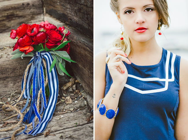 blue striped ribbon bouquet
