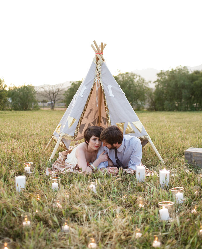teepee and candles
