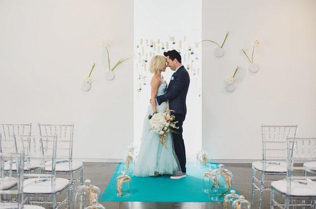 ideas de la boda modernas azules