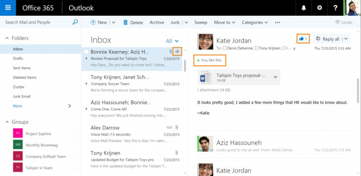 New Outlook for Web Features: 'Likes' and '@Mentions'!