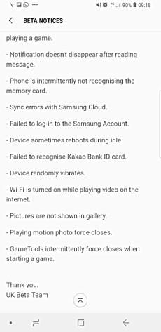 Oreo Beta 4 para Samsung Galaxy S8 / S8 + distribuição em curso 4