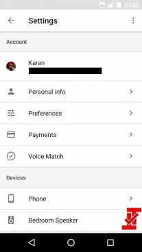 New Google Home app options