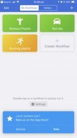 Workflows Text ETA workflow Results of ETA workflow Add to Home Screen