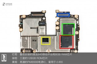 Red - S845 and 8 GB RAM, Green - 128 GB storage, Yellow - power management IC