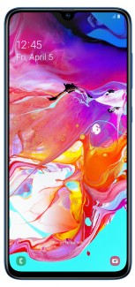 Samsung Galaxy A70 in Black, Blue, and White colors