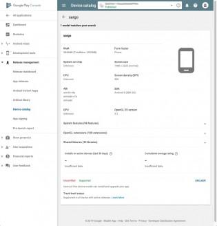 Sargo e Bonito no Google Play Console