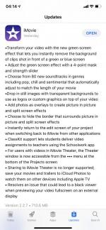 Nhật ký thay đổi iMovie