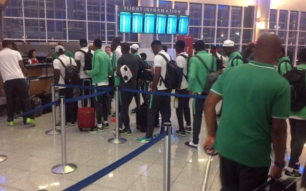 The Nigerian Olympic football team at the airport in Atlanta. PHOTO: TWITTER/Timi Ebikagboro