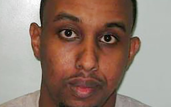 A handout custody photograph released by Britain's Metropolitan Police Service (MPS) on August 1, 2016 shows Somali-born Muhiddin Mire (Muhaydin Mire) who was sentenced at the Old Baily court in London on August 1, 2016 to life imprisonment with a minimum term of eight and a half years after being found guilty of attempted murder in a knife attack at Leytonstone tube station, in east London, in December last year.  / AFP PHOTO / METROPOLITAN POLICE / Handout /