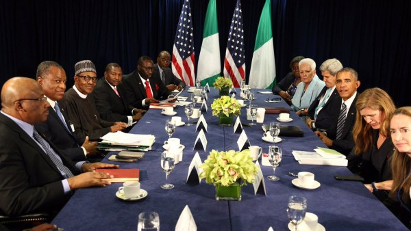 President Muhammadu Buhari and team holds a bilateral meeting with America's President Barack Obama and his team on the sidelines of UN General Assembly, in New York. PHOTO: TWITTER/PRESIDENCY NIGERIA