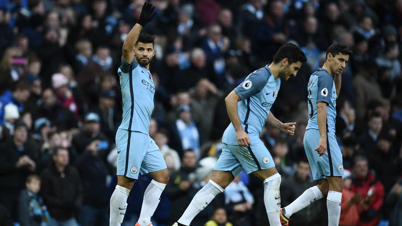 Image result for Aguero disappointed with draw despite scoring his 150th goal for City