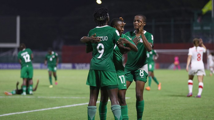 Chinwendu Veronica Ihezuo of Nigeria celebrates scoring a goal during the FIFA U-20 Women's World Cup, Group B match between Nigeria and Canada at Bava Park on November 16, 2016 in Port Moresby, Papua New Guinea. PHOTO: Ian Walton - FIFA/FIFA via Getty Images