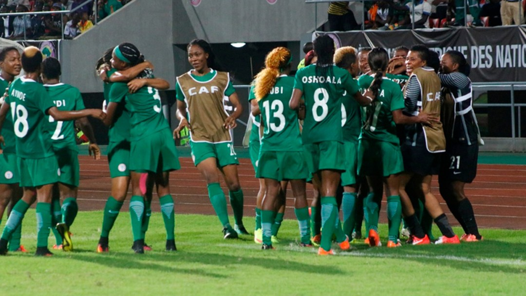 Nigeria's Super Falcons celebrate after qaulifying for the finals of the 2016 AWCON in Cameroon. The Falcons beat Bayana Bayana of South Africa 1-0. PHOTO: CAF