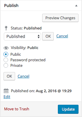 Default WordPress Post Settings