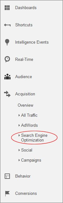 Google Analytics Reporting SEO Tab
