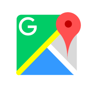 Google Map graphic with large red location pin