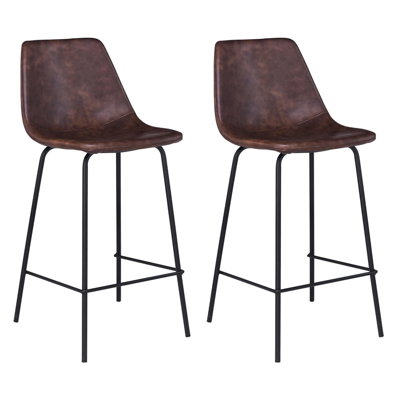 lot de 2 tabourets de bar vintage lucien marron hauteur d assise 65cm